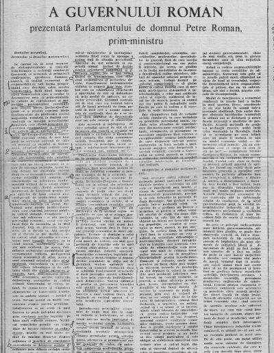 Evenimentul 90.06.29 nr.141 Declaratia- program a guvernului Roman