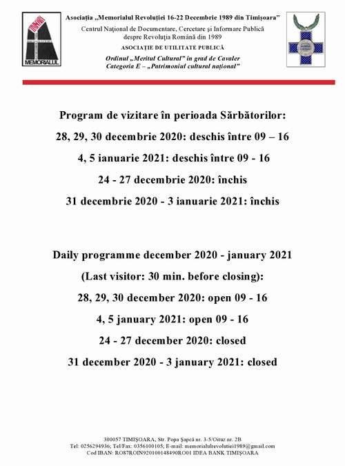 Program de vizitare în perioada Sărbătorilor de iarnă